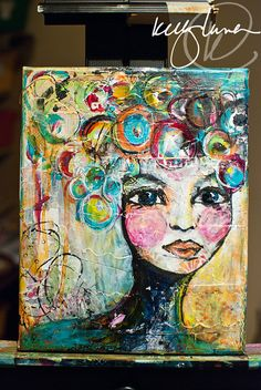 Original Mixed Media Painting Colorful Face by KellyLunaStudio