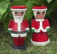 Me. & Mrs. Clause clay pots