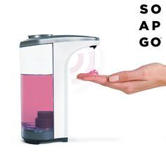 From now on, hand washing will be more practical and convenient for the whole family with the Soap Go automatic soap dispenser. Its proximity sensors will know when soap needs to be released and will also stop automatically. Savon Soap, Automatic Soap Dispenser, Hand Washing, Cool Things To Buy, Water Bottle, Kitchen Appliances, Mugs, Tableware, Beauty Products