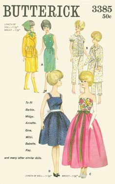 Free Printable Doll Clothes Patterns | love vintage Barbie doll patterns!!! They are so pretty and the ...