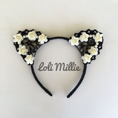 ❤ The Afterlight ❤    This listing is for (1) Headband.    Comes with our signature pearls and roses arrangement. A must-have for all cat ears lovers.