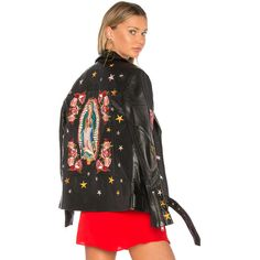LPA Jacket 491 ($1,300) ❤ liked on Polyvore featuring outerwear, jackets, coats & jackets, leather zip jacket, floral-print bomber jackets, zip jacket, floral leather jacket and studded leather jacket