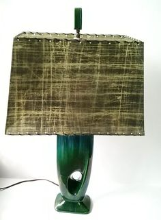 Vintage Mid Century Modern Abstract Blue Green Drip Glaze