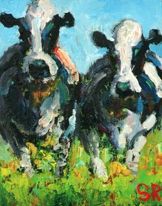 SAM RAINES Elsie and Maeve Original 8x10 ABSTRACT COW FARM LANDSCAPE DAILY PAINTING A DAY
