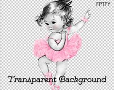 Adorable Vintage Light Pink Baby Ballerina Girl LARGE PNG by ptfy