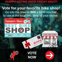 VOTE FOR YOUR FAVORITE BIKE SHOP BY FRIDAY! Is your local bike shop the best? Vote for it and you could win $200 to spend there! VOTE HERE: http://roa.rs/favorite-bike-shop?utm_content=buffere2aad&utm_medium=social&utm_source=pinterest.com&utm_campaign=buffer. #bike #shop #bicycle #store #best #vote