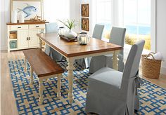 picture of Hillside Cottage White 5 Pc Dining Room with Blue Chairs  from Dining Room Sets Furniture