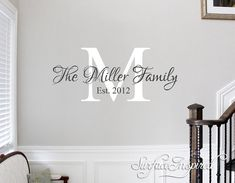 Beautiful family wall decal with personalized name and established date. We can do this wall decal in any size and colors you want. Please