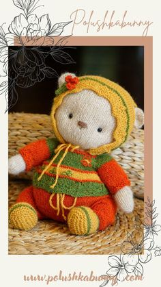 Knitted Cozy Teddy Bear Clothes for teddy bear toy by Polushkabunny Teddy Bear Clothes, Teddy Bear Toys, Knitting Terms, Knitting Patterns, Easy Knitting, Teddy Bear Knitting Pattern, Doll Toys, Dolls, Baby Cocoon