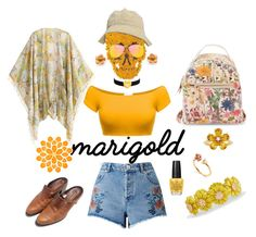 """marigold"" by murielhatesyou ❤ liked on Polyvore featuring Topshop, Kenneth Jay Lane, OPI, Steve Madden, Miss Selfridge, David Tutera, Talbots and marigold"
