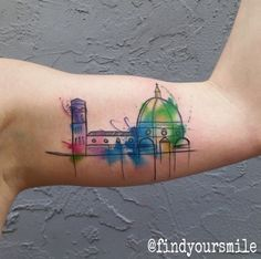 Water color tattoo - Disney World's World Showcase in Epcot