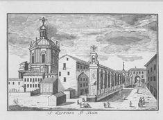 """Basilica di S. Lorenzo, corso di Porta Ticinese, Milano. Marc'Antonio Dal Re, """"Vedute di Milano"""", incisione 19 (ca. 1745)."""