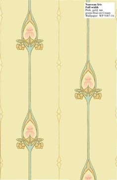 Craftsman reproduction wallpaper: Nouveau Iris. Suitable for homes from 1900 to 1920. $145 per double (33') roll.