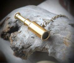 Telescope Necklace - Mini telescope, Spyglass, nautical,antique brass, steampunk, ocean, adventure