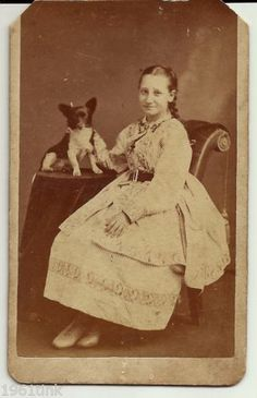 Antique Carte de Vista Photo Pretty Girl w Small Dog Wheeling West Virgina | eBay