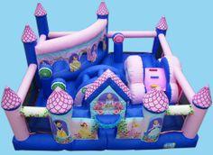 Palacio princesas: Enorme palacio hinchable decorado con las princesas Disney más bonitas. Pásatelo en grande saltando y jugando con Blancanieves, Bella o La Cenicienta. El castillo está divido en varias zonas cada una con toboganes y obstáculos.