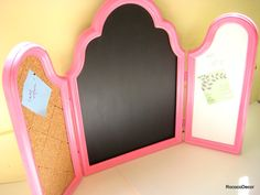 This is a cute idea! hinge together different frames and paint with chalk board paint, and line with cork!
