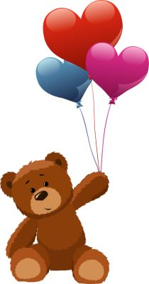 Teddy bear holding heart balloons