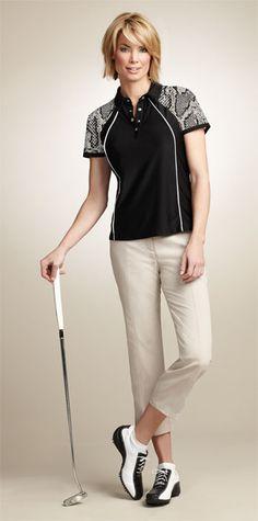 Spanner Golf Ladies Golf Outfits (Shirt & Capri) -Exotica (Black or White w/Python & Almond)