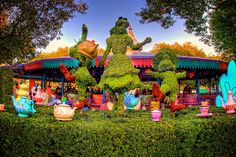 Alice and her tea party topiary display by the teacup ride in the MK