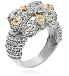Ring in 14k Gold and Sterling Silver with 0.32 Diamond - Vahan Fleur de Lys - Vahan Jewelry