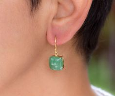 Australian Jade dangle earrings Green drop earrings Puffy
