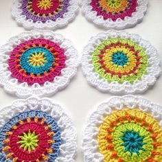 Colorful #crochet coasters free pattern from mjukdesign