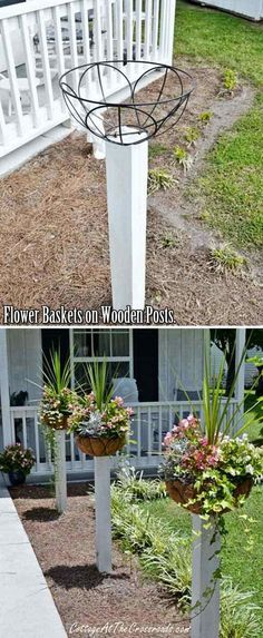 10. Mount flower baskets on wooden posts, you can replace these summer plants with mums.