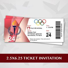 Olympic Party Ticket Invitation by RedVelvetParties on Etsy
