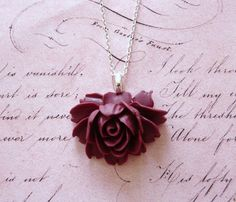 Dark Pink Roses In Bloom Necklace by missbohemia on Etsy, $14.50