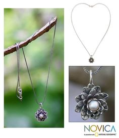 Sterling Silver 'Sacred White Lotus' Pearl Necklace (4 mm) (Indonesia) - Overstock™ Shopping - Great Deals on Novica Necklaces