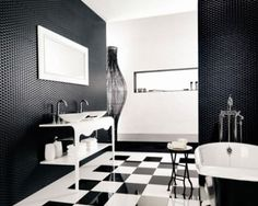 The Combination Of Black And White Bathroom Ideas: Traditional Black And White Bathroom Interior Design Ideas Black And White Bathroom Floor, White Bathroom Interior, Black White Bathrooms, Modern Bathrooms Interior, Black And White Interior, Interior Design Color Schemes, White Interior Design, Restaurant Interior Design, Interior Decorating