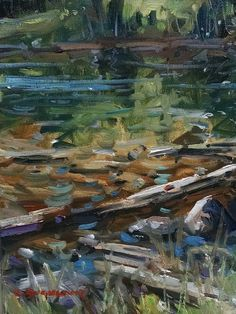 "Summer Driftwood , oil on canvas 9"" x12""   Oil on Canvas Kyle Buckland Art Home Office Wall art Decor Fine Art Interior Decorating Plein Air De impressionist sign Creativity Farm House impressionism gallery American art landscape Oil painting"