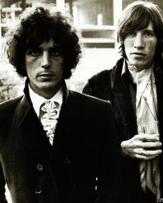 """Syd pictured with Roger Waters. """"Syd was a truly magnetic personality. People would look at him in the street and say, 'There's Syd Barrett,' and he would only be fourteen."""" ~ David Gilmour"""