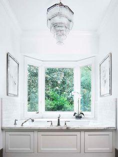 Suzie: Linda McDougald Design - Amazing master bathroom with white wood paneled drop-in tub, ...