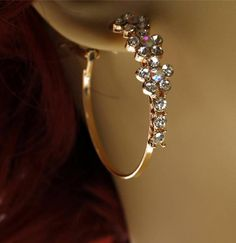 NEW FASHION BRIDAL WEDDING PROM EARRINGS GOLD TONE WITH RHINESTONES CRYSTALLS #Hoop