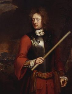 """""""Portrait of an Officer"""" by Michael Dahl (1690-1695) in the Royal Collection, UK - From the curators' comments: """"The sitter could be a member of the family of Frederick, Duke of Schomberg (1615-90), but cannot be identified with any certainty. The sitter is an officer, wearing a red coat with breastplate over it, a sash with gold fringing at the waist; right hand holds a baton, the left on his sword hilt; a cavalry action appears in the left background."""""""