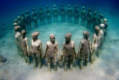 Underwater sculpture, in Grenada, in honor of African Ancestors who were thrown overboard the slave ships during the Middle Passage of the African Holocaust.