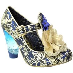 amazing gold and blue shoes by Irregular Choice