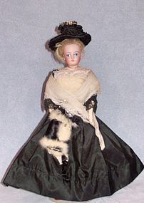 "10.5"" French Fashion with painted eyes. Faraway Antique Shop at Doll Shops United  http://www.dollshopsunited.com/stores/faraway/items/1273273/105-French-Fashion-Painted-Eyes   #dollshopsunited #antiquedoll"