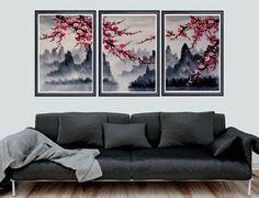 Kersenbloesem kunst, kersenbloesem muur muurschildering, kersenbloesem Japanse kunst print. Het gaat hierbij om alle 3 afdrukken. Archiveringsdoeleinden kwaliteit Giclee print op ultra premium luster fotopapier. De kwaliteit van deze prenten zijn hoogste inkeping, en zou ziet er geweldig