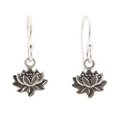 Small Detailed Lotus Blossom Flower Dangle Earrings in Sterling Silver,