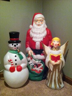 Vintage Outdoor Lighted Blow Molds of Santa,Snowman and a angel. We used to have the Santa outside our house.