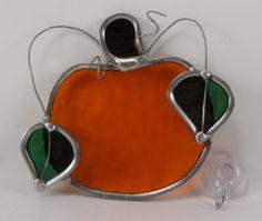 Handmade Stained Glass Orange Pumpkin Suncatcher