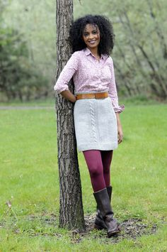 Bryn Mawr Skirt - Knitting Daily - Fun Yarn with Leggings - this could be awesome