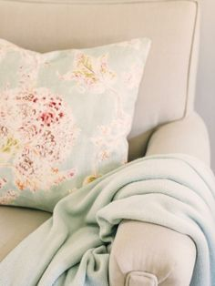 You can also bring floral décor into your design with the use of bold and colorful patterns.  Consider throw pillows to add fresh, new accent colors. Bonus:  they're easily interchangeable with changing seasons--> http://hg.tv/y7pr