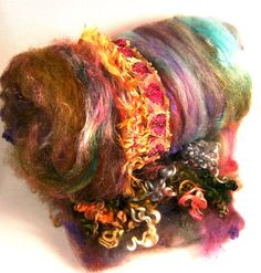 Folklore Wild Card Bling Batt for Spinning and by yarnwench, $31.00
