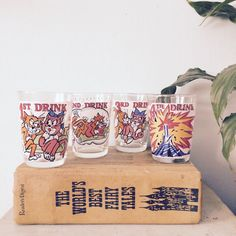 Novelty Cheeky BRIGHT Drinking Whiskey / Vodka GLASSES - Vintage / Dirty Cat KITSCH Retro Fun Drinking Game - Quirky! by RaspberryMintVintage