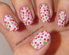 flower nails - Easy Nail Art for Beginners Dot Nail Art, Polka Dot Nails, Nail Polish Art, Nail Polish Designs, Nail Designs, Polka Dots, Pointed Nails, Flower Nails, Tips Belleza