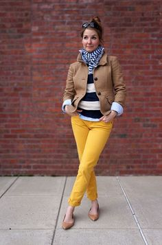 Not one thing I don't love. Yellow chinos with navy and white striped sweater.
